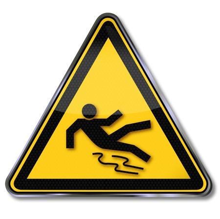 panneaux danger: Les signes de danger glissantes Illustration