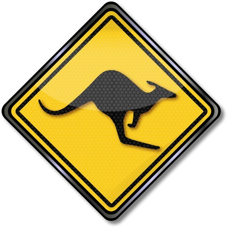 Kangaroo traffic sign Vector