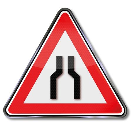 width: Traffic sign road width narrowed