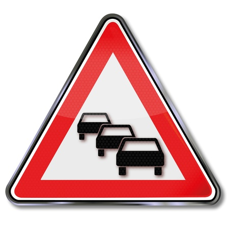 potential: Prohibition signs of potential traffic jam