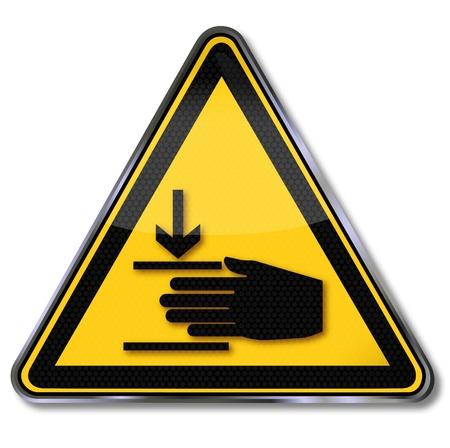 pigiatura: Attenzione Pericolo di sicurezza segni di schiacciamento Vettoriali