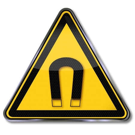 hazard sign: Danger signs warning against magnets Illustration