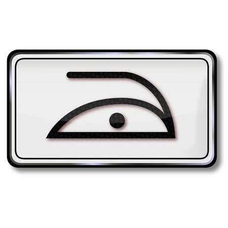 care symbol: Textile care symbol iron a point Illustration