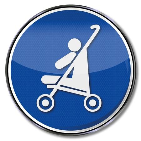meaning: Escudo de ni�o en un cochecito de beb�