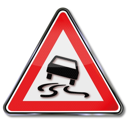 Traffic sign skidding Stock Vector - 14778028