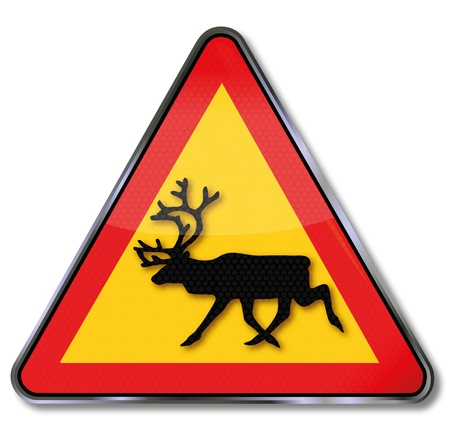 Reindeer road sign Stock Vector - 14778038