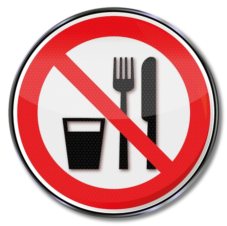 Prohibiting eating and drinking forbidden characters Vector