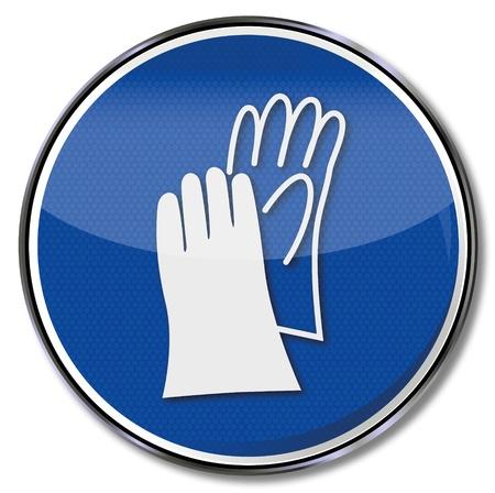 caution sign: Segnaletica di sicurezza e guanti di protezione della mano