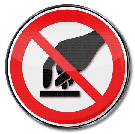 Prohibition signs forbidden touch Vector