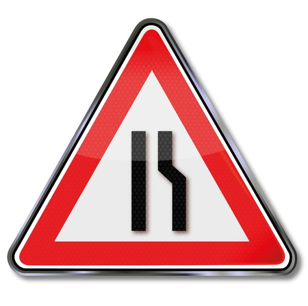 width: Traffic sign narrowing the road width Illustration