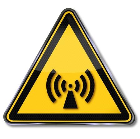 radiacion: Signos de peligro advirtiendo contra las radiaciones ionizantes y electromagnéticas