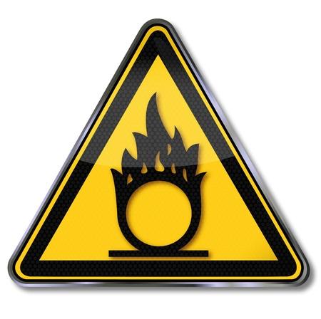 oxidising: Signos de peligro sustancias oxidantes