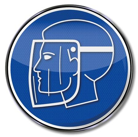 Sicherheitszeichen Gesichtsschutz Standard-Bild - 14856959