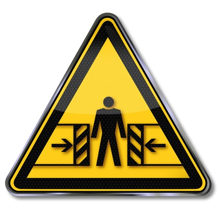 Hazard warning symbol crushing