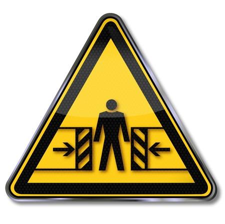 Symbole d'avertissement risque d'écrasement Vecteurs
