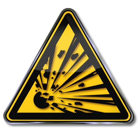 explosives: Danger signs warning of potentially dangerous substances,