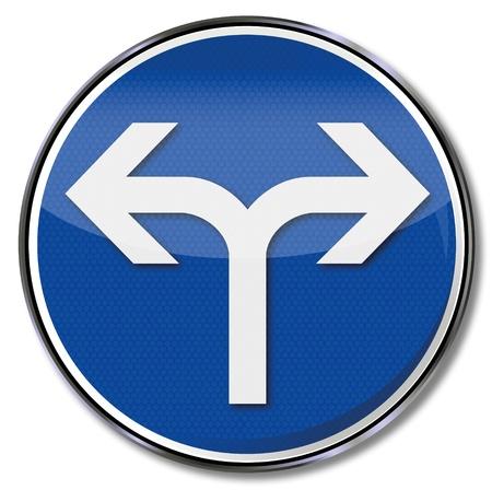 fork road: Camino tenedor signo Vectores