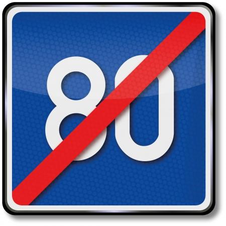 Traffic sign speed limit repeal Illusztráció