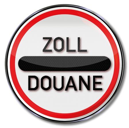 Road sign customs Douane