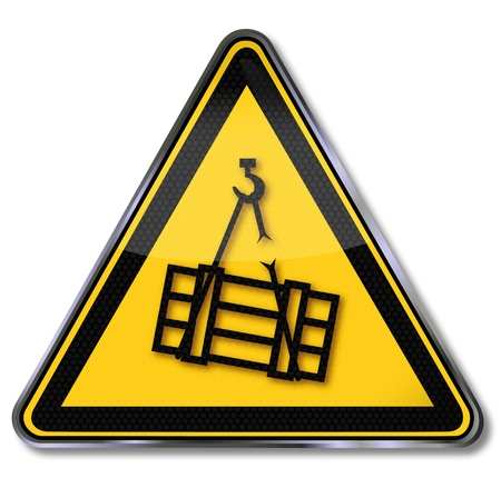 warning attention sign: Danger Signs Warning of suspended load Illustration