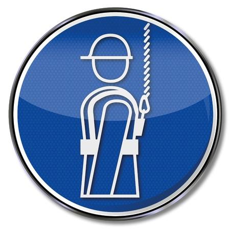 Safety signs harness use Illustration