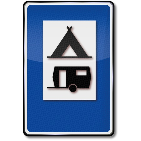 Road sign tent and camper space Stock Vector - 14950729