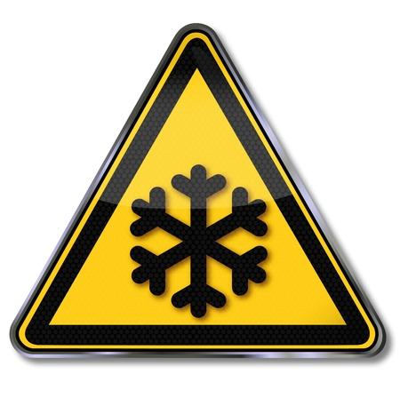 warning triangle: Danger signs warning against cold