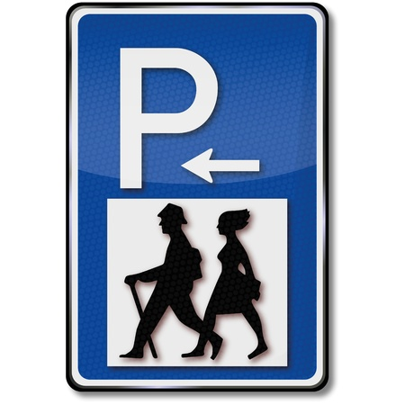 hiking trail: Hikers and parking traffic sign Illustration
