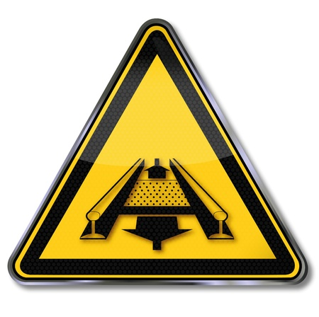 conveyor rail: Danger signs warn of hazards of the conveyor system