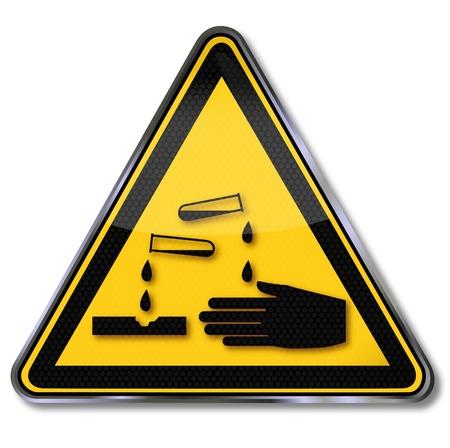 Danger warning signs vo corrosives