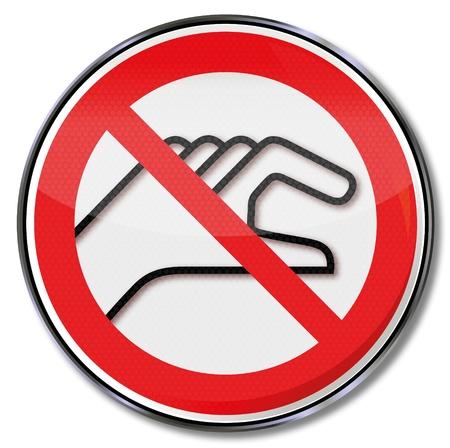 prevencion de accidentes: Se�ales de prohibici�n prohibido colocar las manos