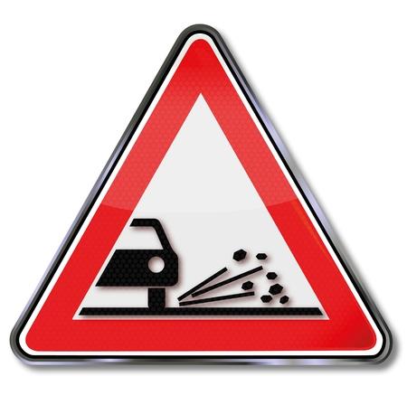 fcc: Road sign rockfall Illustration
