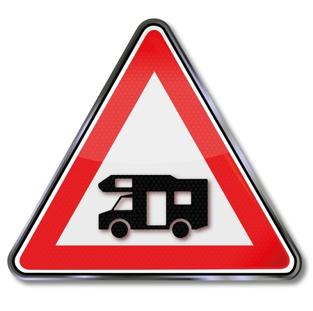Road sign Caravan Vector