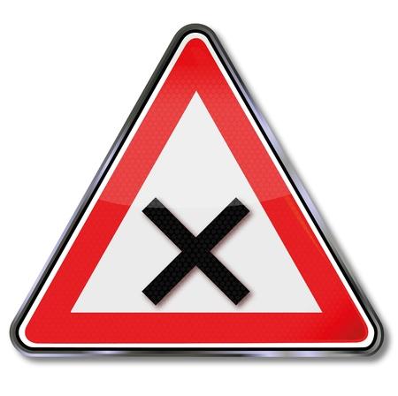 Warning road sign crossing