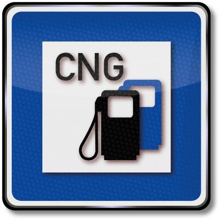 Road sign natural gas station