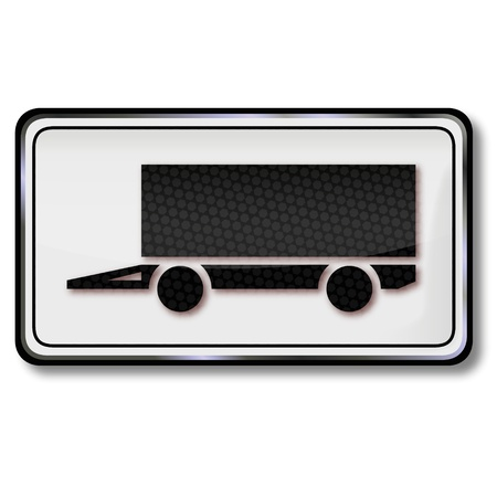 Road sign truck trailer Vector