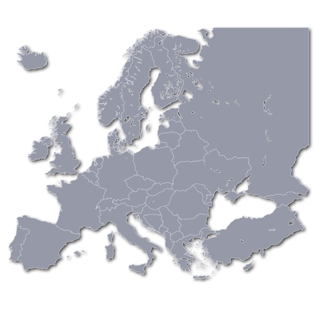 geography of europe: Map of Europe Stock Photo