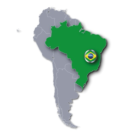 south america map: Map of Brazil Stock Photo