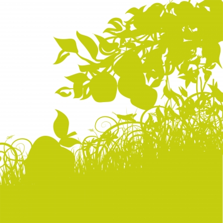 Apple in the grass Vector