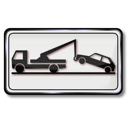 tow: Road sign towing