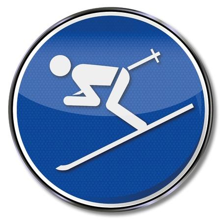 short break: Sign skiers Illustration
