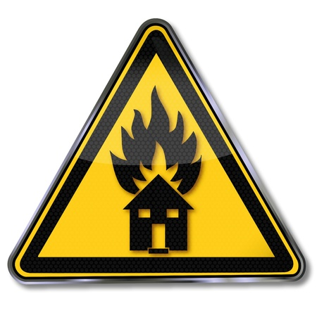 fire safety signs: Schild Fire Protection Stock Illustratie