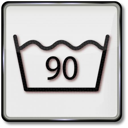 ninety: Textile care symbol ninety degrees water