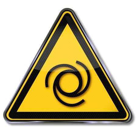 crushing: Danger sign warning automatic start-up