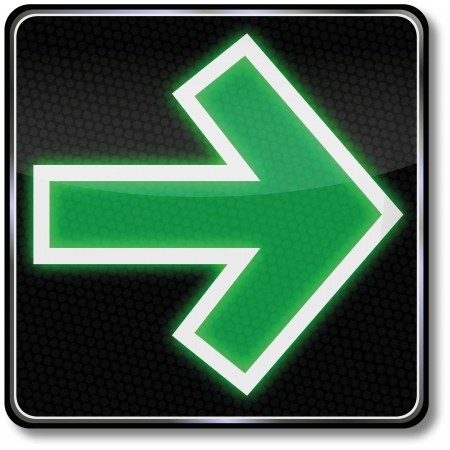 right of way: Traffic sign green arrow Illustration