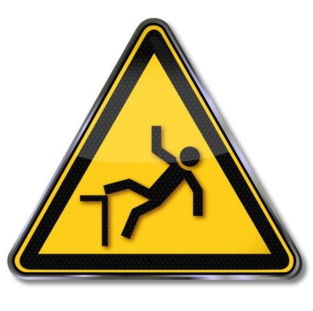 Pericolo caduta avvertimento segno e cadere Vettoriali