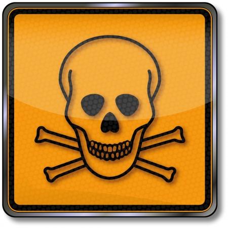 inhalacion: Peligro sustancia t�xica signo y el cr�neo Vectores