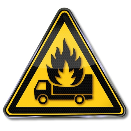 Sign truck on fire Vector