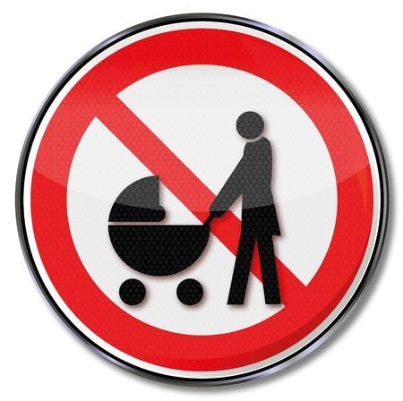 Sign passage dangerous with pram Vector
