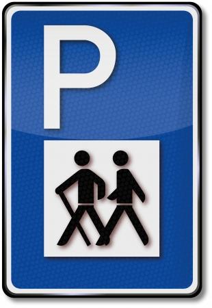 berg: Traffic sign Hiking and Parking Illustration